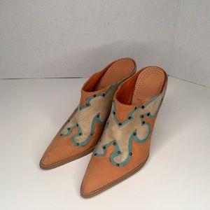 BCBG suede western style high heel mules.